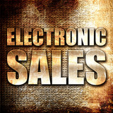 electronic sales, 3D rendering, metal text on rust background