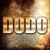 Dodo, 3D rendering, metal text on rust background