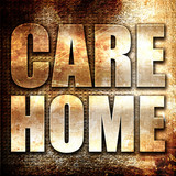 care home, 3D rendering, metal text on rust background