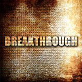 breakthrough, 3D rendering, metal text on rust background