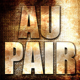 au pair, 3D rendering, metal text on rust background