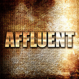 affluent, 3D rendering, metal text on rust background