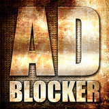 ad blocker, 3D rendering, metal text on rust background