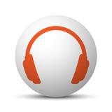 Orange Headphones icon on white ball