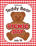Teddy Bear Picnic Day poster, annual holiday in USA on July 10, kids and their favorite stuffed toys have lunch outdoors, red polka dot text, gingham check background.