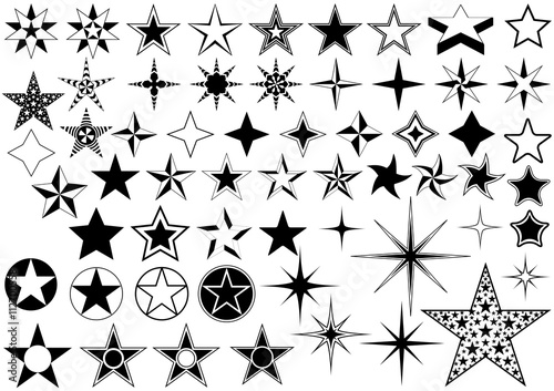 Vector Collection of Star Isolated on White Background - Black Illustration - 112700558