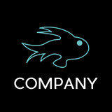 Vector sign abstract fish, in linear style  on black background