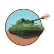 Постер, плакат: бронированный танк с ракетной установкой Новый бронированный танк с ракетной установкой оснащен пулеметами вокруг танка и замаскирован под боевые маневры для иконки и так далее