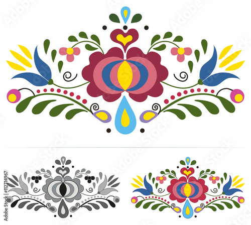Colored slovak folk ornaments © mari2visions