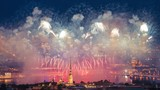 Time lapse shot of the firework near the Peter and Paul Fortress, St. Peter and Paul Cathedral, the Hermitage, Neva river, the arrow of Vasilevsky Island, St. Isaacs Cathedral