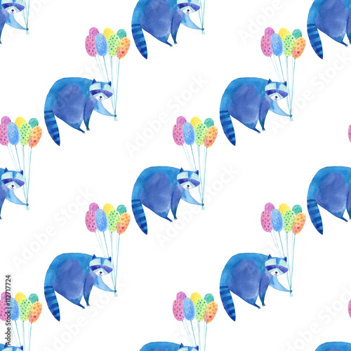 Seamless pattern with blue raccoon and colorful balloon.Watercolor hand drawn illustration.White background.Animals illustration.