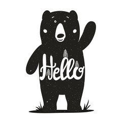 Funny vector illustration with cute bear and lettering word - hello.
