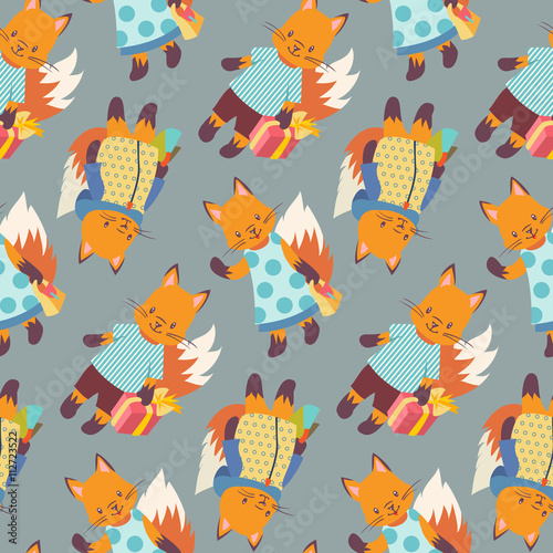 Cotton fabric Foxes
