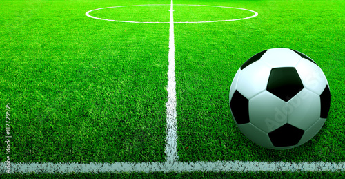 Poster Soccer ball on the grass