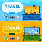 Open suitcase with landmarks. Travel the world. Monument concept. Tourism and vacation theme. Travelling vector illustration. Modern flat design. Famous world landmarks icons. Journey around the world