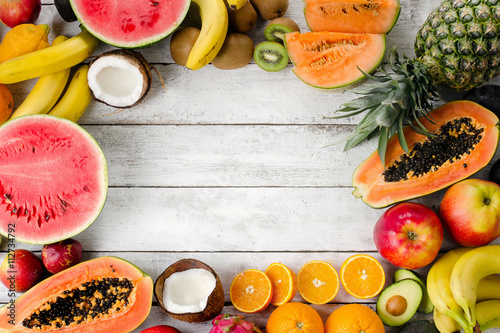 Tropical fruits. Poster