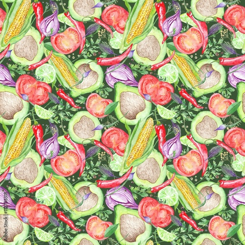 Fototapeta Seamless Texture with Watercolor Vegetables