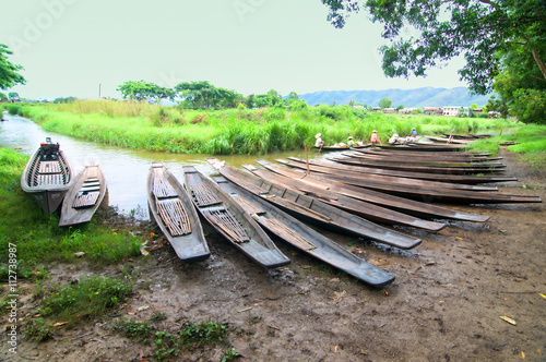 Poster Boat stand in Inle lake, Shan state, Myanmar
