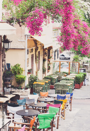 Charming street in the old district of Plaka in Athens, Greece © kite_rin