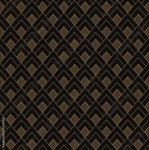 Fototapeta Art Deco seamless vintage wallpaper pattern. Geometric decorativ