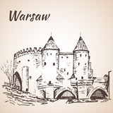 Warsaw Barbican. Sketch. Isolated on white background - 112757396