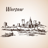 Warsaw cityscape. Sketch. Isolated on white background - 112757513