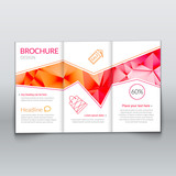 Tri-fold modern brochure design template with trendy polygonal background on white