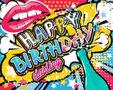 Fototapety Birthday Card - vector illustration with champagne, lips and stars elements.