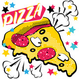 Fast food Pizza. Pop art style. Vector illustration.