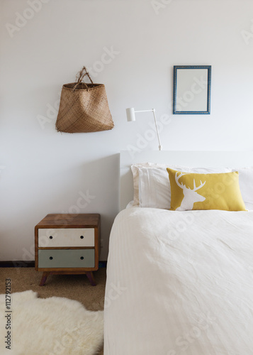 Bedroom details of retro decor side table and wall ornaments Poster
