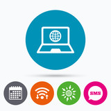 Laptop sign icon. Notebook pc with globe symbol