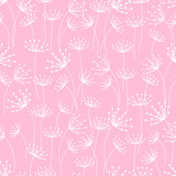 Seamless pattern with floral ornate on pink