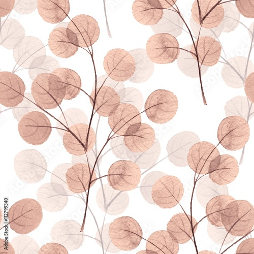 Branches with round leaves. Watercolor background. Seamless pattern 8 - 112799340
