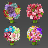 Fototapety Illustration of flowers bouquet set