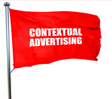 contextual advertising, 3D rendering, a red waving flag