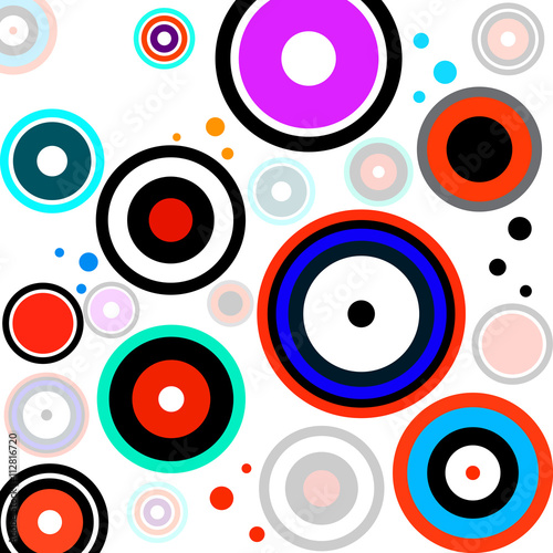 Abstract colorful background with circles, geometric shapes