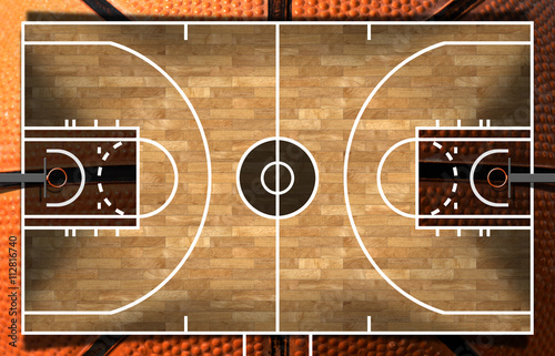 Fototapeta Realistic 3D illustration of a basketball court with wooden floor (parquet) and orange and black ball