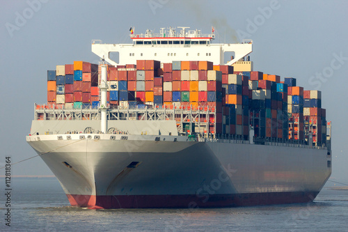 Front view of a large container ship
