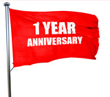 1 year anniversary, 3D rendering, a red waving flag