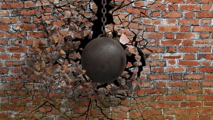 Metallic rusty wrecking ball on chain shattering an old brick wall. 3D rendering © viperagp