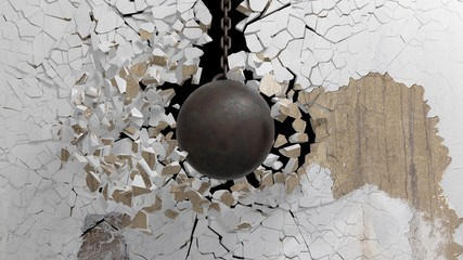 Metallic rusty wrecking ball on chain shattering  an old wall. 3D rendering © viperagp