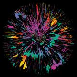 Abstract color splash background, fireworks, flower illustration. - 112824734