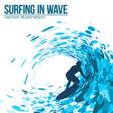 Fototapety Vector surfer silhouette in blue wave