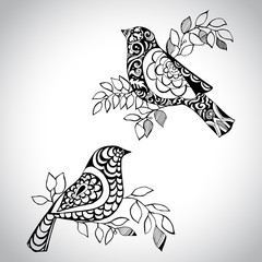 Two decorative birds. Hand drawn birds for your design.