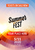 Fototapety Summer festival flyer design template. Summer poster flyer template colorful design