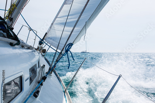 Sailing with wave Poster