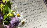 Altes handgeschriebenes Notenblatt mit Wildblumen auf Holz Hintergrund