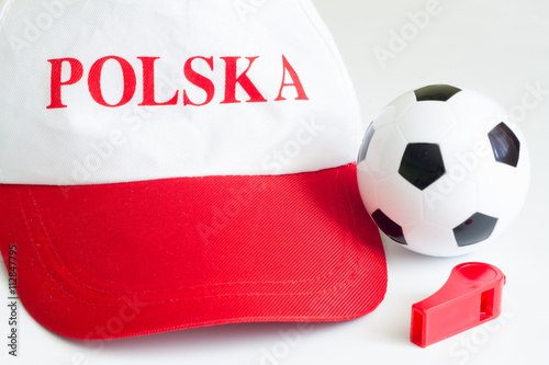 Poster Euro 2016 with polish fan hat and football ball