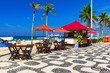 Quadro Ipanema beach with mosaic of sidewalk in Rio de Janeiro. Brazil