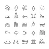 Fototapety Set of linear icons of city landscape elements. Thin icons for web, print, mobile apps design